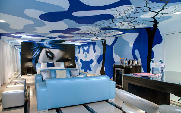 Digital Wallcoverings deliver in the blue room at the Rumor Hotel Las Vegas
