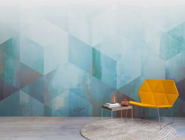 Newmor Watercolour Geometric blue fade 1